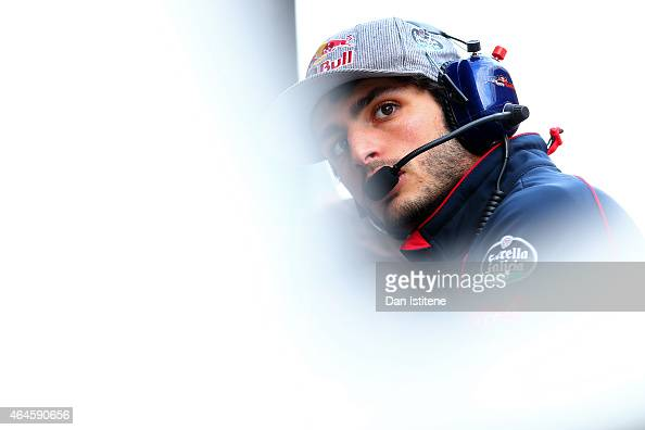 Carlos Sainz of Spain and Scuderia Toro Rosso looks on from the pit wall during day two of the final Formula One Winter Testing at Circuit de...