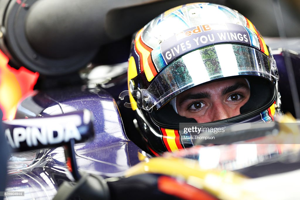 Carlos Sainz of Spain and Scuderia Toro Rosso sits in his car in the garage during practice for the Formula One Grand Prix of Russia at Sochi Autodrom on April 29, 2016 in Sochi, Russia.