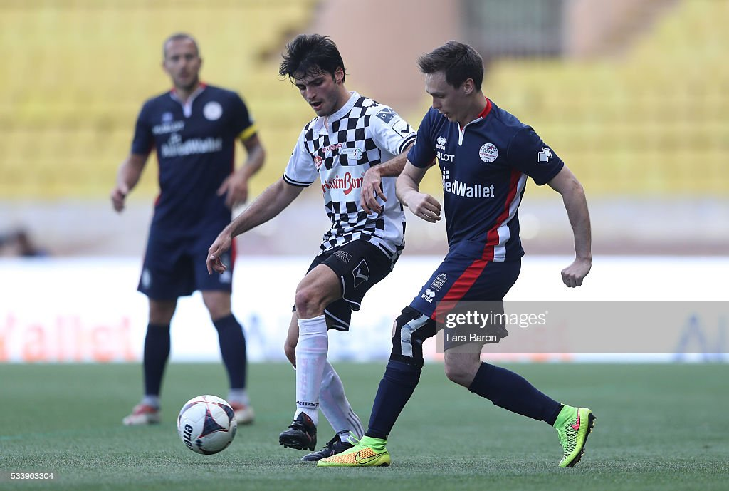 Carlos Sainz of Spain and Scuderia Toro Rosso with the ball during the 24th World Stars football match at Stade Louis II, Monaco before the Monaco Formula One Grand Prix at Circuit de Monaco on May 24, 2016 in Monte-Carlo, Monaco.