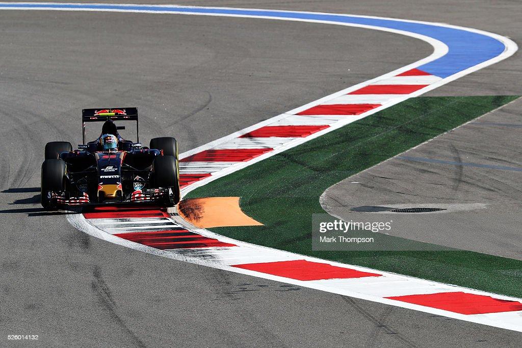Carlos Sainz of Spain driving the (55) Scuderia Toro Rosso STR11 Ferrari 060/5 turbo on track during practice for the Formula One Grand Prix of Russia at Sochi Autodrom on April 29, 2016 in Sochi, Russia.