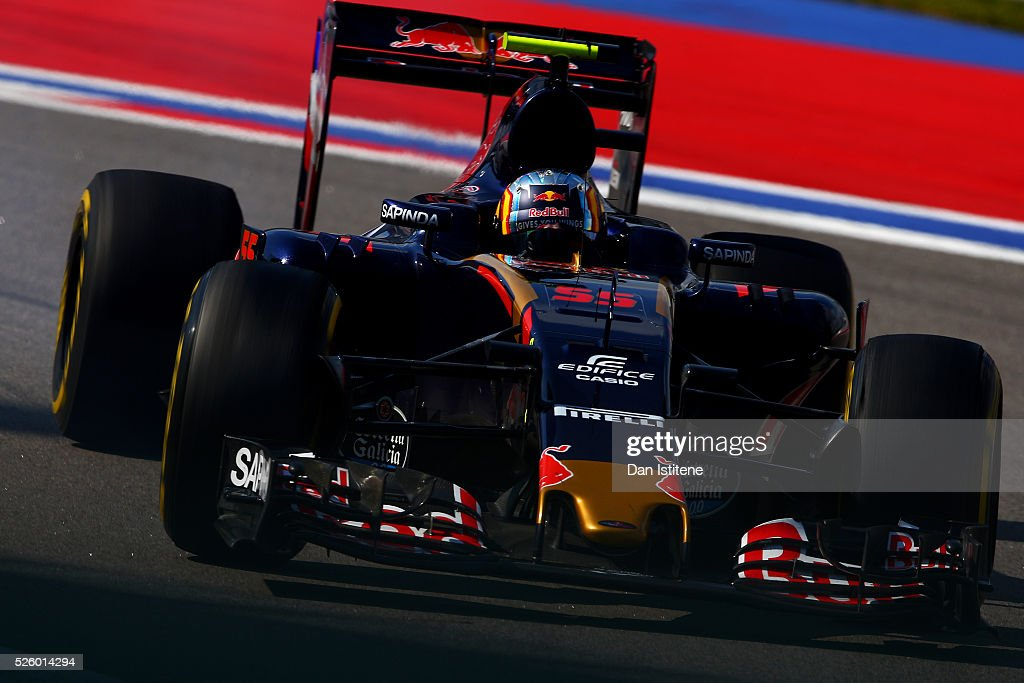 Carlos Sainz of Spain driving the (55) Scuderia Toro Rosso STR11 Ferrari 060/5 turbo on track during practice for the Formula One Grand Prix of Russia at Sochi Autodrom on April 29, 2016 in Sochi, Russia.