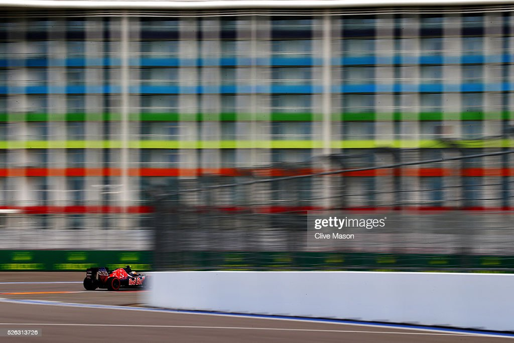 Carlos Sainz of Spain driving the (55) Scuderia Toro Rosso STR11 Ferrari 060/5 turbo on track during final practice ahead of the Formula One Grand Prix of Russia at Sochi Autodrom on April 30, 2016 in Sochi, Russia.