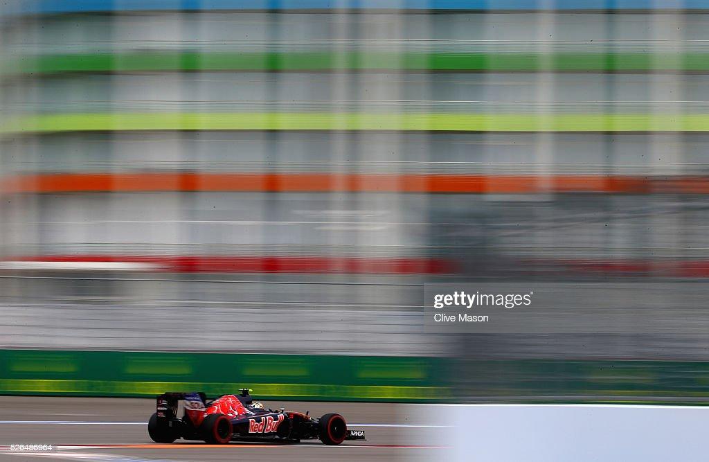 Carlos Sainz of Spain driving the (55) Scuderia Toro Rosso STR11 Ferrari 060/5 turbo on track during final practice ahead of the Formula One Grand Prix of Russia at Sochi Autodrom on April 30, 2016 in Sochi, Russia.