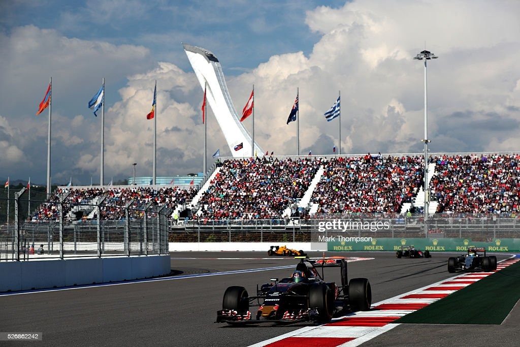 Carlos Sainz of Spain driving the (55) Scuderia Toro Rosso STR11 Ferrari 060/5 turbo on track during the Formula One Grand Prix of Russia at Sochi Autodrom on May 1, 2016 in Sochi, Russia.