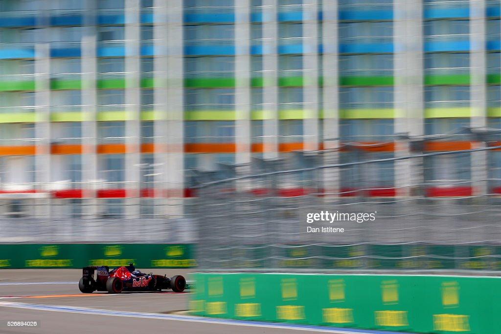 Carlos Sainz of Spain driving the (55) Scuderia Toro Rosso STR11 Ferrari 060/5 turbo on track during the Formula One Grand Prix of Russia at Sochi Autodrom on May 1, 2016 in Sochi, Russia.