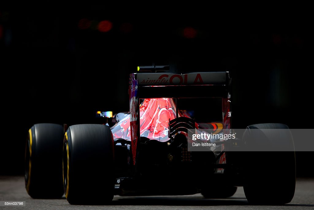 Carlos Sainz of Spain driving the (55) Scuderia Toro Rosso STR11 Ferrari 060/5 turbo on track during practice for the Monaco Formula One Grand Prix at Circuit de Monaco on May 26, 2016 in Monte-Carlo, Monaco.