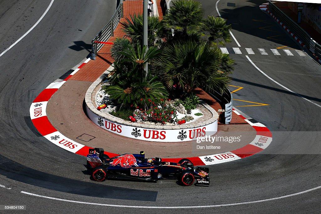 Carlos Sainz of Spain driving the (55) Scuderia Toro Rosso STR11 Ferrari 060/5 turbo on track during final practice ahead of the Monaco Formula One Grand Prix at Circuit de Monaco on May 28, 2016 in Monte-Carlo, Monaco.