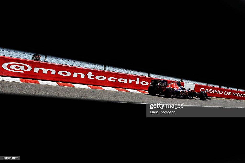 Carlos Sainz of Spain driving the (55) Scuderia Toro Rosso STR11 Ferrari 060/5 turbo on track during qualifying for the Monaco Formula One Grand Prix at Circuit de Monaco on May 28, 2016 in Monte-Carlo, Monaco.
