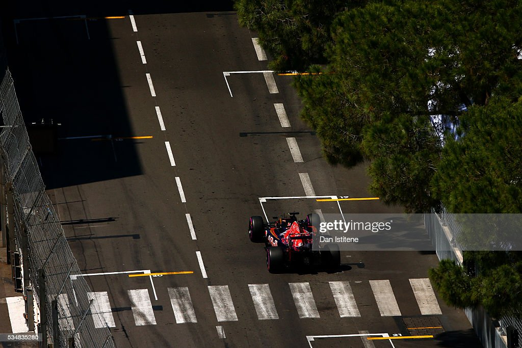 Carlos Sainz of Spain driving the (55) Scuderia Toro Rosso STR11 Ferrari 060/5 turbo on track during qualifying for the Monaco Formula One Grand Prix at Circuit de Monaco on May 28, 2016 in Monte-Carlo, Monaco.