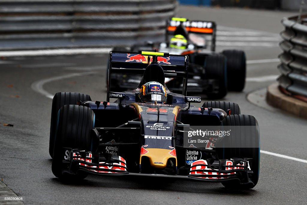 Carlos Sainz of Spain driving the (55) Scuderia Toro Rosso STR11 Ferrari 060/5 turbo leads Sergio Perez of Mexico driving the (11) Sahara Force India F1 Team VJM09 Mercedes PU106C Hybrid turbo on track during the Monaco Formula One Grand Prix at Circuit de Monaco on May 29, 2016 in Monte-Carlo, Monaco.