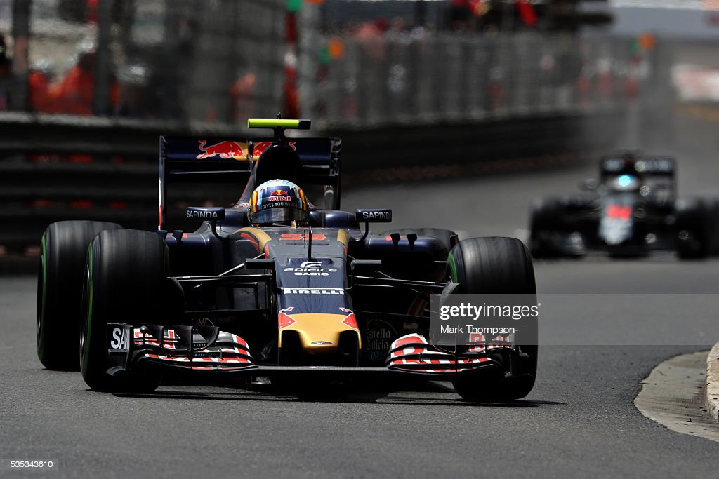 Carlos Sainz of Spain driving the (55) Scuderia Toro Rosso STR11 Ferrari 060/5 turbo on track during the Monaco Formula One Grand Prix at Circuit de Monaco on May 29, 2016 in Monte-Carlo, Monaco.