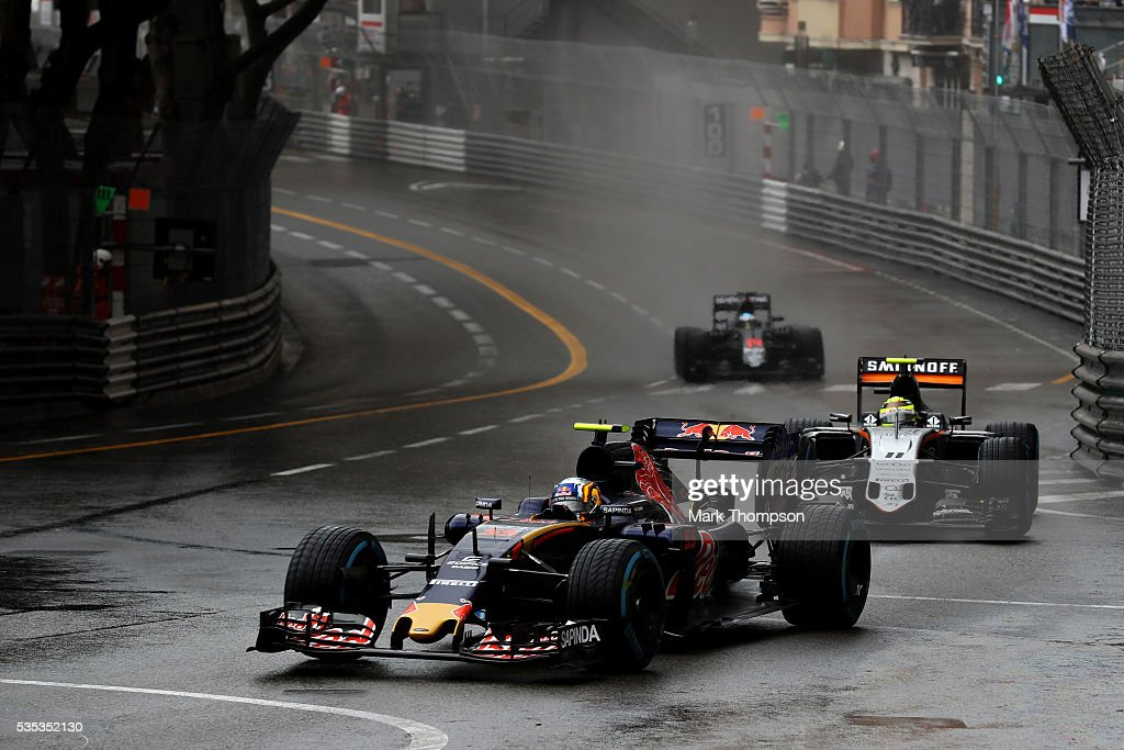 Carlos Sainz of Spain driving the (55) Scuderia Toro Rosso STR11 Ferrari 060/5 turbo leads Sergio Perez of Mexico driving the (11) Sahara Force India F1 Team VJM09 Mercedes PU106C Hybrid turbo on track during the Monaco Formula One Grand Prix at Circuit de Monaco on May 29, 2016 in Monte-Carlo, Monaco.