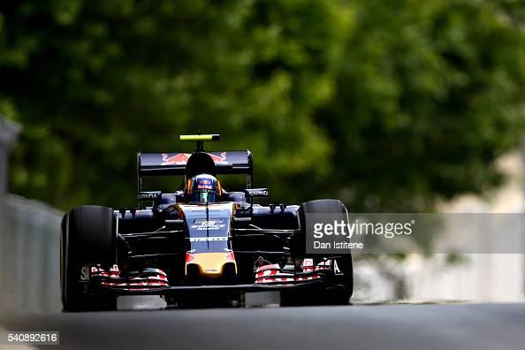 Carlos Sainz of Spain driving the Scuderia Toro Rosso STR11 Ferrari 060/5 turbo on track during practice for the European Formula One Grand Prix at...