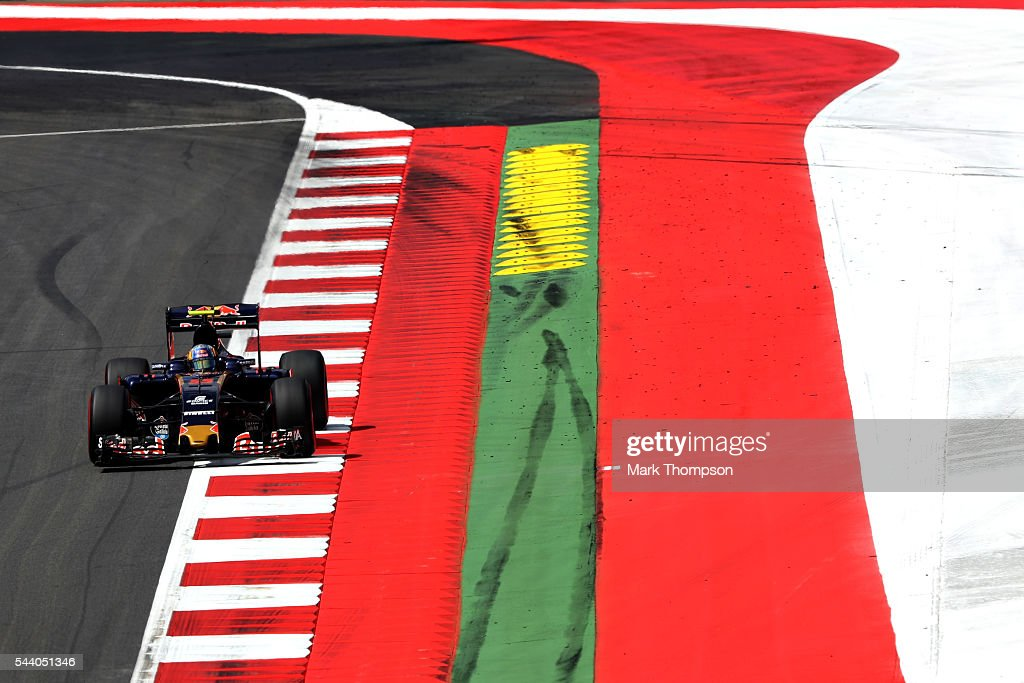 Carlos Sainz of Spain driving the (55) Scuderia Toro Rosso STR11 Ferrari 060/5 turbo on track during practice for the Formula One Grand Prix of Austria at Red Bull Ring on July 1, 2016 in Spielberg, Austria.
