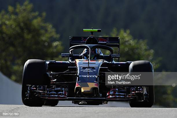 Carlos Sainz of Spain driving the Scuderia Toro Rosso STR11 Ferrari 060/5 turbo with the halo fitted on track during practice for the Formula One...