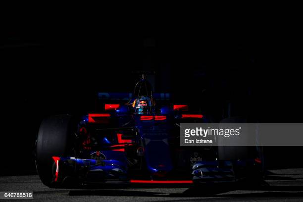 Carlos Sainz of Spain driving the Scuderia Toro Rosso STR12 leaves the garage during day three of Formula One winter testing at Circuit de Catalunya...