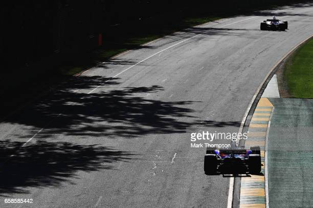 Carlos Sainz of Spain driving the Scuderia Toro Rosso STR12 on track during the Australian Formula One Grand Prix at Albert Park on March 26 2017 in...