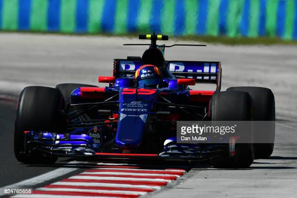 Carlos Sainz of Spain driving the Scuderia Toro Rosso STR12 on track during the Formula One Grand Prix of Hungary at Hungaroring on July 30 2017 in...