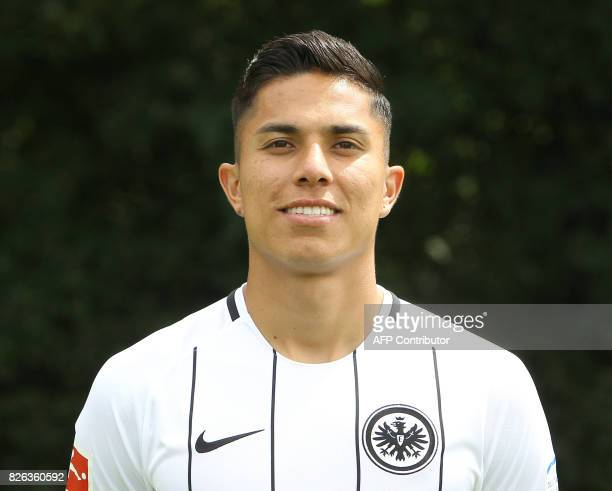 Carlos Salcedo from German first division Bundesliga football team Eintracht Frankfurt poses for a photo in Frankfurt Germany on August 4 2017 / AFP...