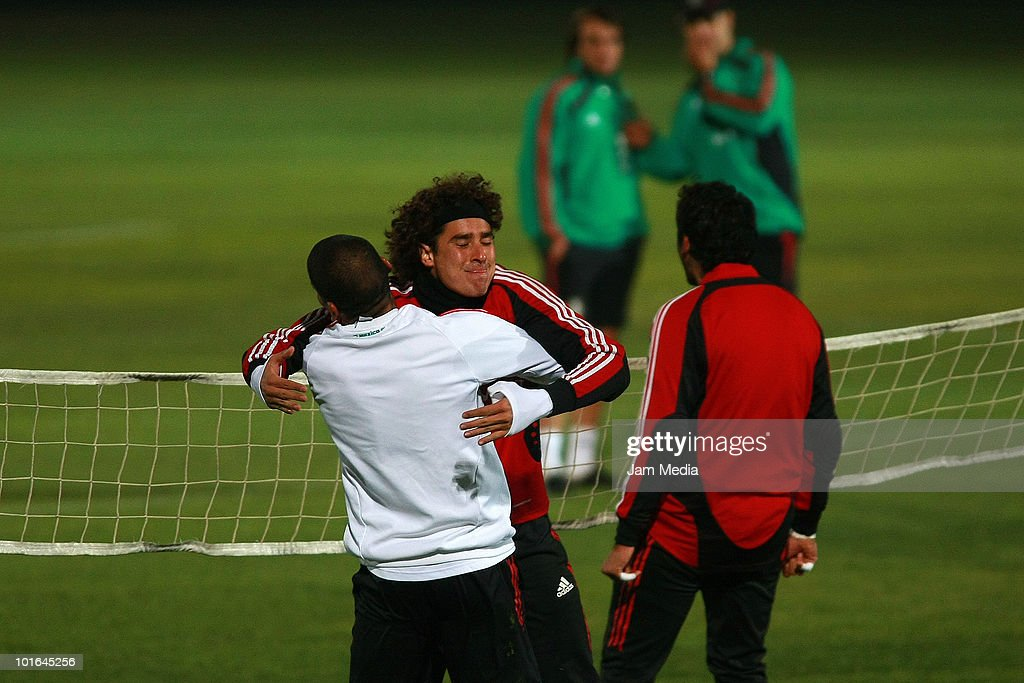 Carlos Salcido (L) and Guillermo Ochoa (R) of Mexico during a training session at Waterstone College as part of their preparation for FIFA 2010 World Cup on June 5, 2010 in Johannesburg, South Africa.