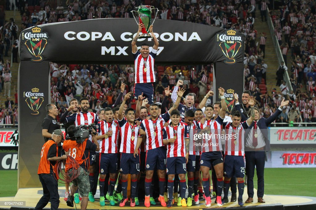 Carlos Salcido of Chivas lifts the trophy after winning the final match between Chivas and Morelia as part of the Copa MX Clausura 2017 at Chivas Stadium on April 19, 2017 in Zapopan, Mexico.