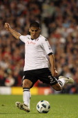 Carlos Salcido of Fulham in action during the Barclays Premier League match between Fulham and Liverpool at Craven Cottage on May 9 2011 in London...