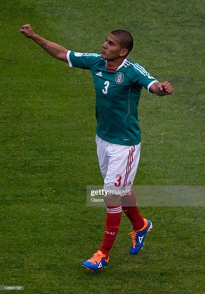 Carlos Salcido of Mexico celebrates a goal during a match of soccer between Mexico and Guyana as part of the CONCACAF Qualifiers for the World Cup Brazil 2014 in Azteca Stadium on June 08, 2012 in Mexico City, Mexico.