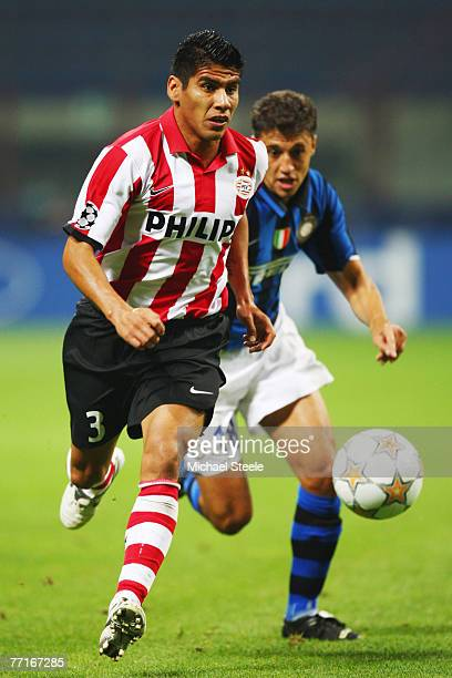 Carlos Salcido of PSV Eindhoven during the UEFA Champions League Group G match between Inter Milan and PSV Eindhoven at the San Siro stadium on...