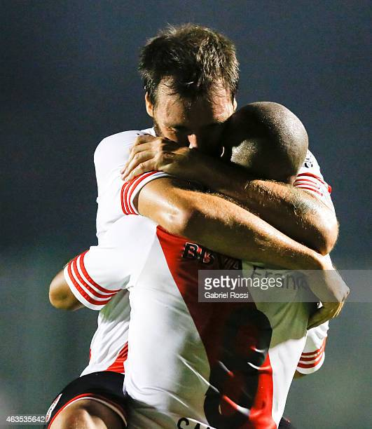 Carlos Sanchez and Fernando Cavenaghi of River Plate celebrates after scoring the first goal of his team during a match between Sarmiento and River...
