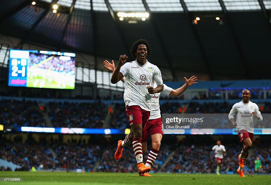 Carlos Sanchez of Aston Villa celebrates his goal during the Barclays Premier League match between Manchester City and Aston Villa at Etihad Stadium...
