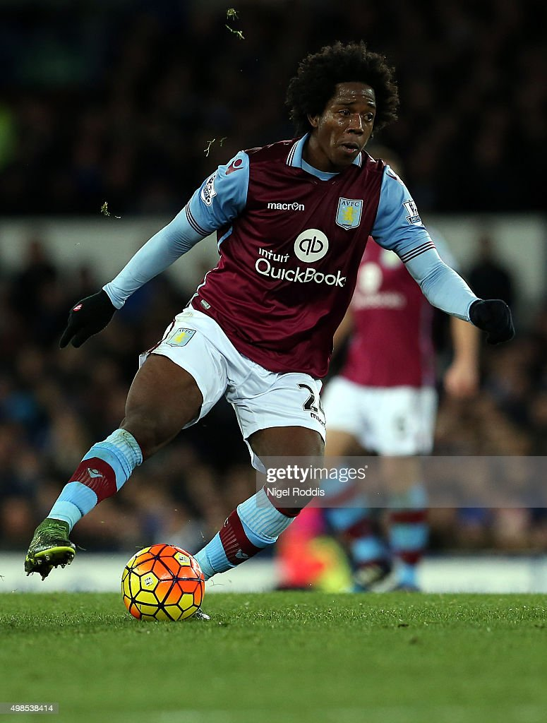 Carlos Sanchez of Aston Villa during the Barclays Premier League match between Everton and Aston Villa at Goodison Park on November 21 2015 in...