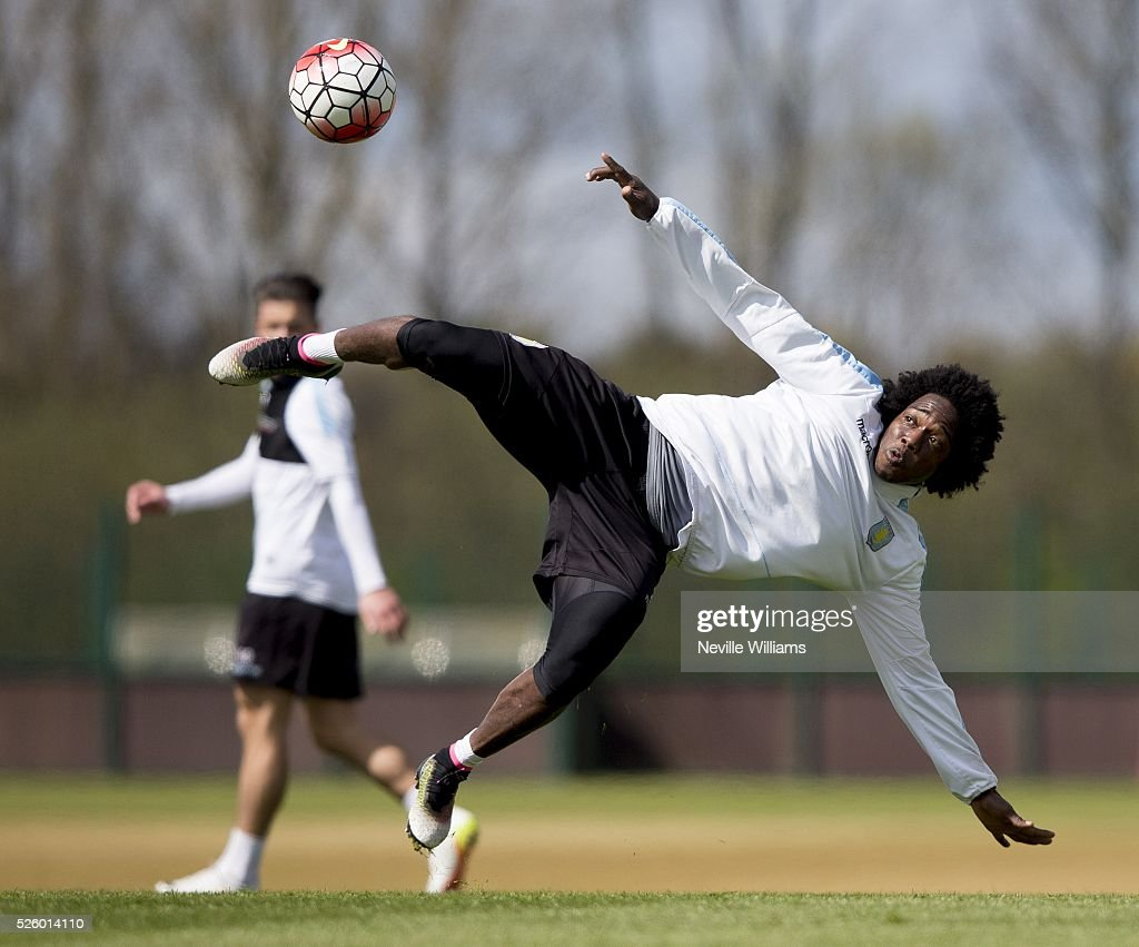 Carlos Sanchez of Aston Villa in action during a Aston Villa training session at the club's training ground at Bodymoor Heath on April 29, 2016 in Birmingham, England.