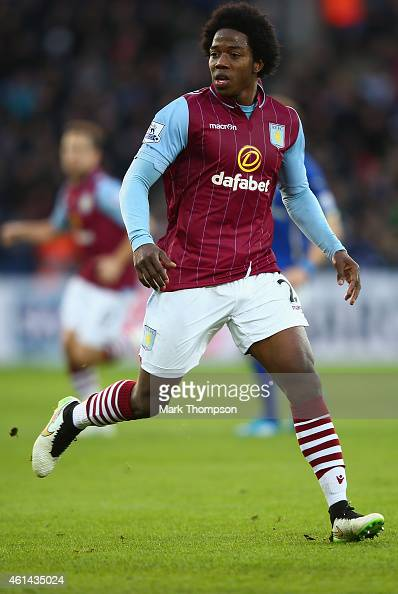 Carlos Sanchez of Aston Villa in action during the Barclays Premier League match between Leicester City and Aston Villa at The King Power Stadium on...