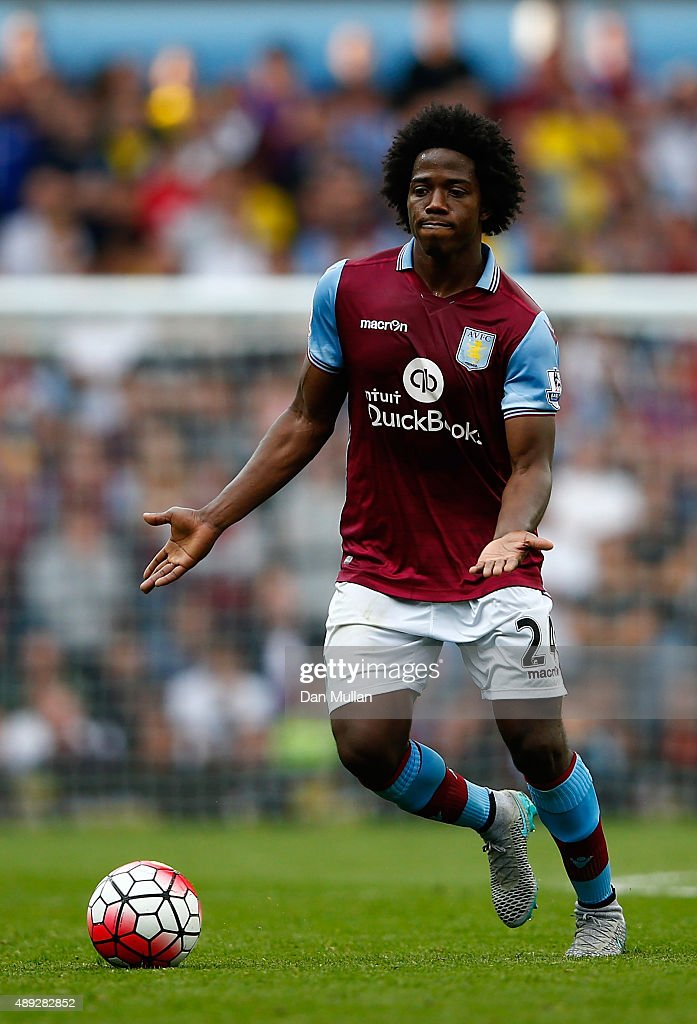 Carlos Sanchez of Aston Villa in action during the Barclays Premier League match between Aston Villa and West Bromwich Albion at Villa Park on...