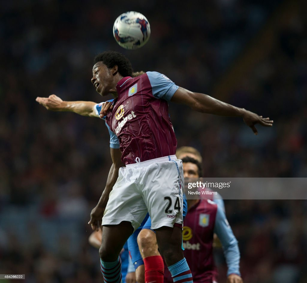 Carlos Sanchez of Aston Villa jumps during the Capital One Cup second round match between Aston Villa and Leyton Orient at Villa Park on August 27...