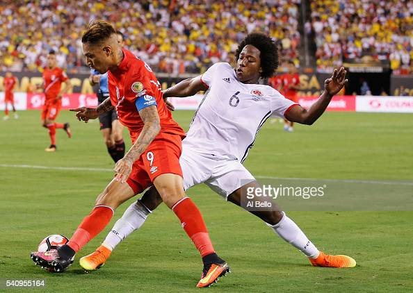 Carlos Sanchez of Colombia and Jose Paolo Guerrero of Peru battle for the ball during the Quarterfinal match of Copa America Centenario at MetLife...