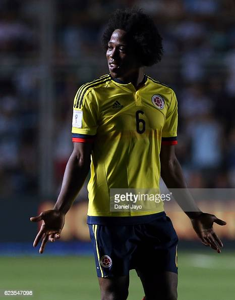 Carlos Sanchez of Colombia gestures during a match between Argentina and Colombia as part of FIFA 2018 World Cup Qualifiers at Bicentenario de San...