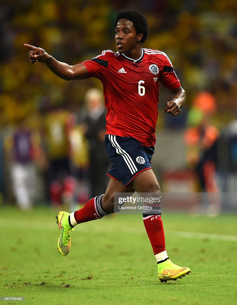 Carlos Sanchez of Colombia reacts during the 2014 FIFA World Cup Brazil Quarter Final match between Brazil and Colombia at Castelao on July 4 2014 in...