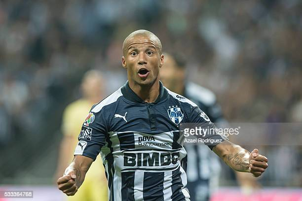 Carlos Sanchez of Monterrey celebrates after scoring his team's third goal during the semi finals second leg match between Monterrey and America as...