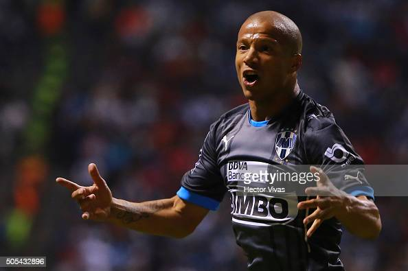 Carlos Sanchez of Monterrey celebrates after scoring the second goal of his team during the 2nd round match between Puebla and Monterrey as part of...