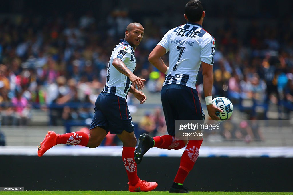 Carlos Sanchez of Monterrey celebrates after scoring the second goal of his team during the 6th round match between Pumas UNAM and Monterrey as part...