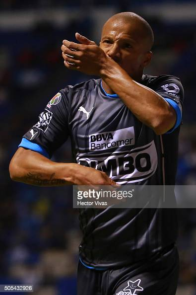 Carlos Sanchez of Monterrey celebrates after scoring the third goal of his team during the 2nd round match between Puebla and Monterrey as part of...