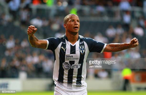 Carlos Sanchez of Monterrey celebrates the third goal of his team during match between Monterrey and Celaya as part of the Copa MX Apertura 2017 at...