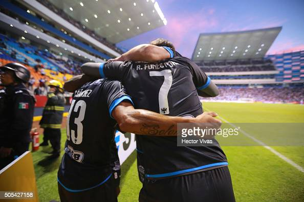 Carlos Sanchez of Monterrey celebrates with teammates after scoring the second goal of his team during the 2nd round match between Puebla and...