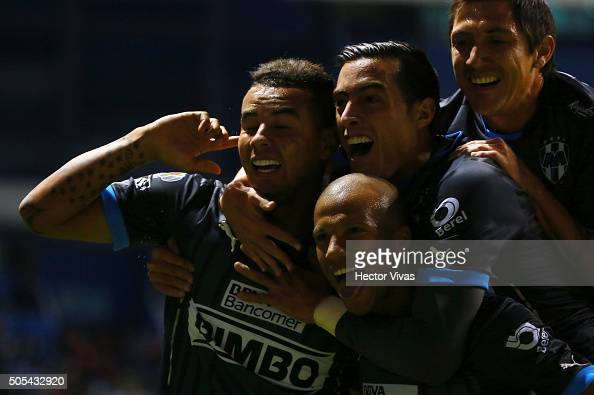 Carlos Sanchez of Monterrey celebrates with teammates after scoring the third goal of his team during the 2nd round match between Puebla and...