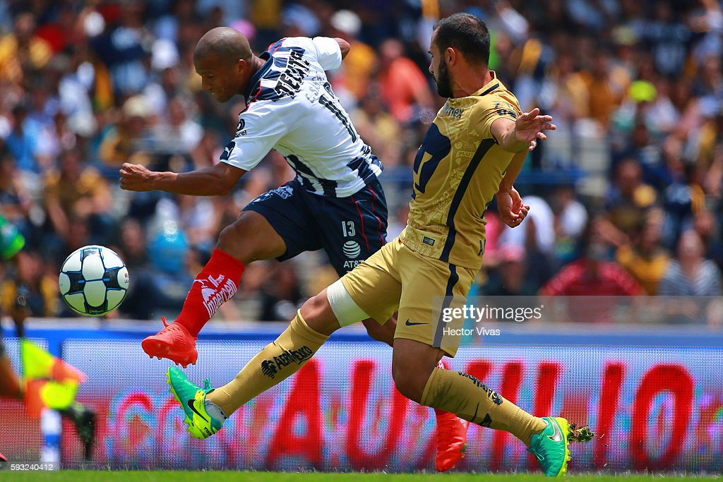 Carlos Sanchez of Monterrey scores the second goal of his team during the 6th round match between Pumas UNAM and Monterrey as part of the Torneo...