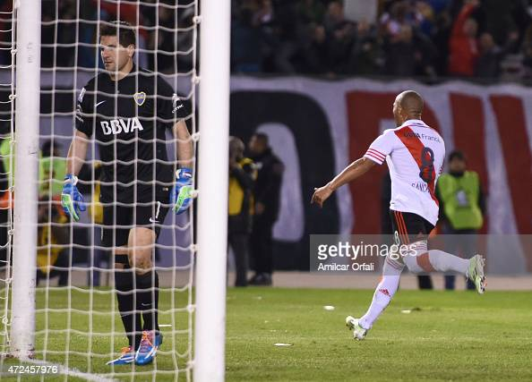 Carlos Sanchez of River Plate celebrates after scoring during a first leg match between River Plate and Boca Juniors as part of round of sixteen of...