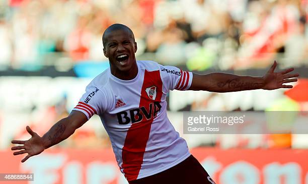Carlos Sanchez of River Plate celebrates after scoring the first goal of his team during a match between River Plate and San Lorenzo as part of eight...