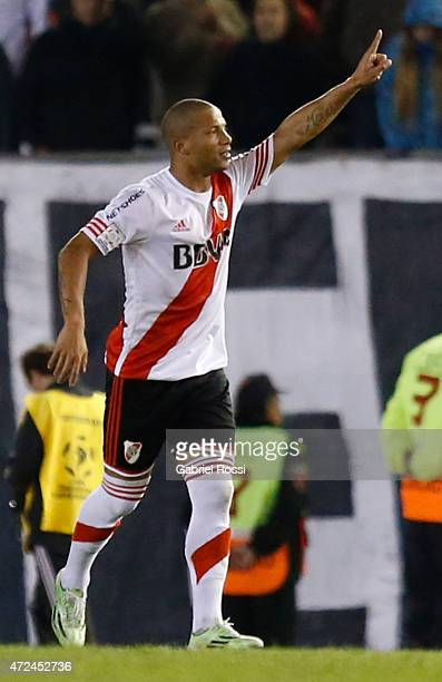 Carlos Sanchez of River Plate celebrates after scoring the first goal of his team during a first leg match between River Plate and Boca Juniors as...