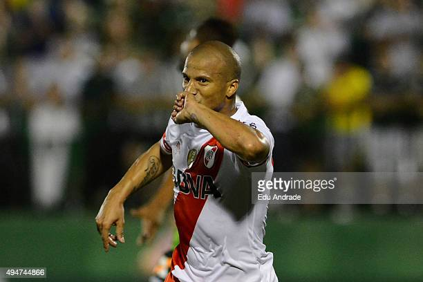 Carlos Sanchez of River Plate celebrates after scoring the first goal of his team during a match between Chapecoense and River Plate as part of...